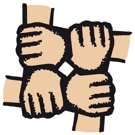 la union hace la fuerza: Manos unidas Vectores