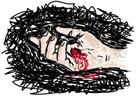 christ blood: Hand pierced