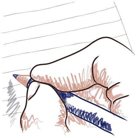 to write: hand drawing Illustration