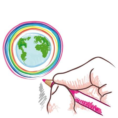 paz mundial: dibujar el mundo Vectores