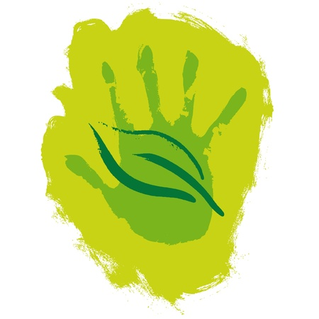 hand and leaf Vector