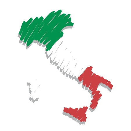 italy flag: map flag Italy Illustration