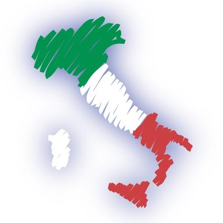 flagge auf land italien: Karte Flagge Italien Illustration