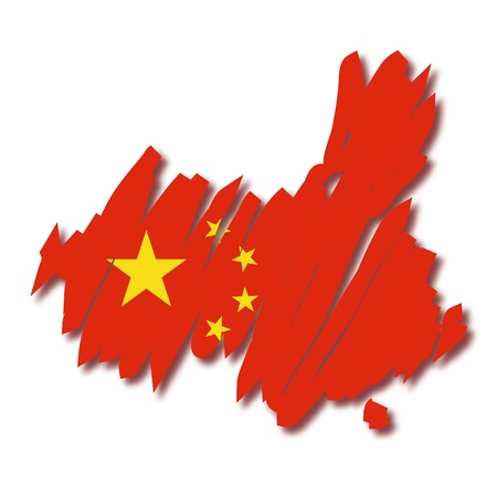 mapa china: Mapa de la bandera de China