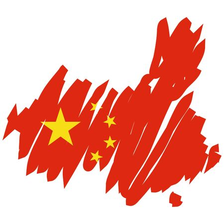 china flag: map flag China