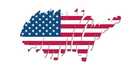 brushwork: map flag United States Illustration