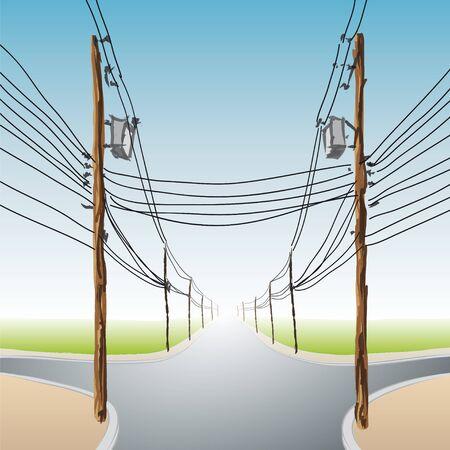 poles with wires Stok Fotoğraf - 10681309
