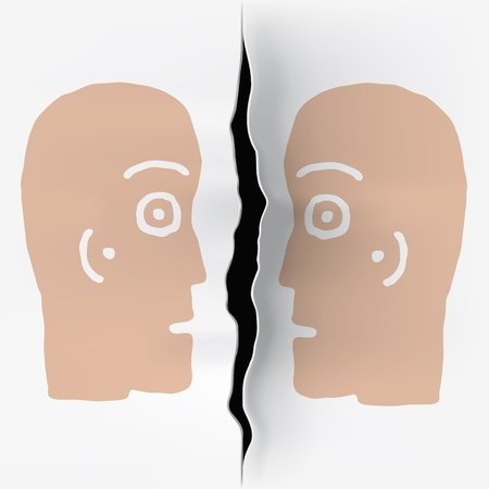 likeness: two heads  separated Stock Photo