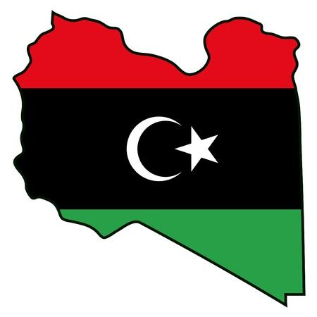 libya: map flag Libya