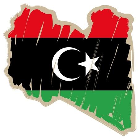 libyan: map flag Libya