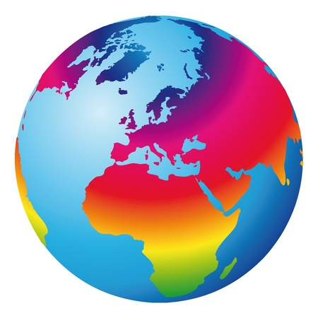 rainbow sphere: world globe Illustration