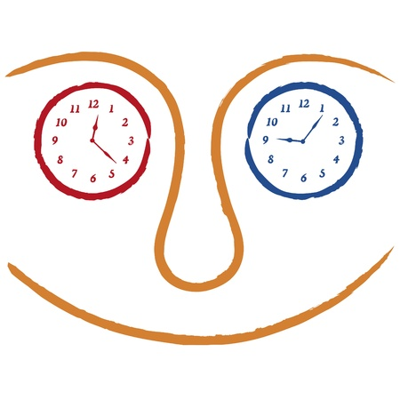 faces with clocks Vector
