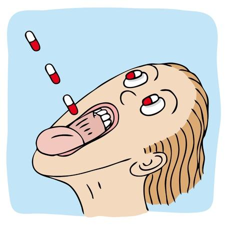 Swallowing pills Vector