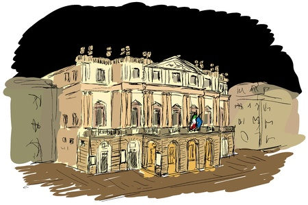 het theater in Milaan Vector Illustratie
