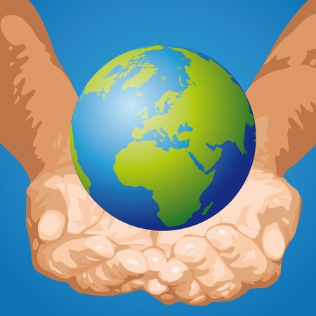 The world in the hands Vector