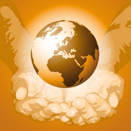 The world in the hands Stock Vector - 10691846