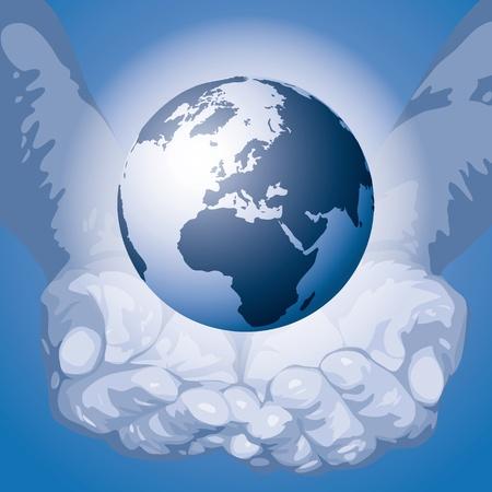 erde h�nde: Die Welt in den H�nden Illustration