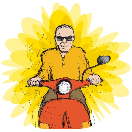 seated: scooter rider Illustration