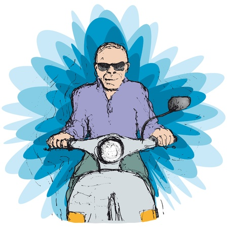 scooter rider Vector