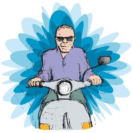 scooter rider Illustration