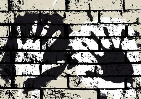 presencia: manos en la pared Vectores