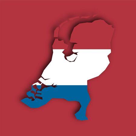 flag map Netherlands Vector