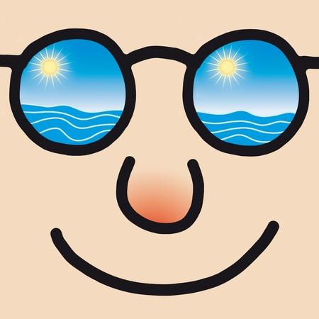 sun glass: cara feliz