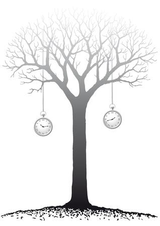 bare: hanging clocks Illustration