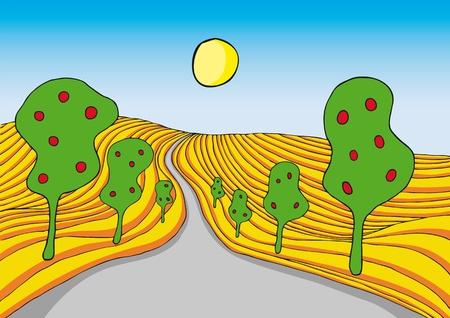 dirt road: surreal landscape Illustration