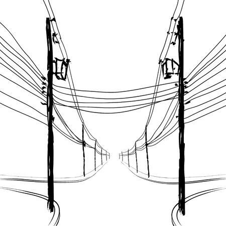 crossing tangle: poles with wires