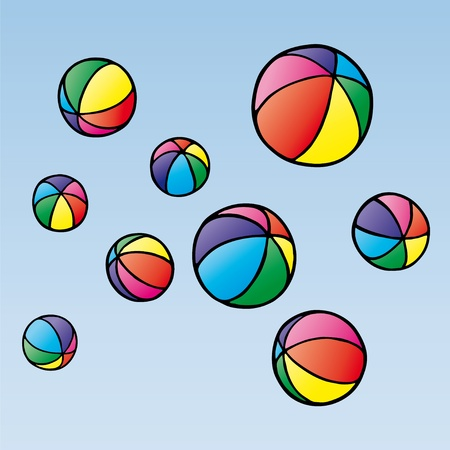 color balls: balls in the air