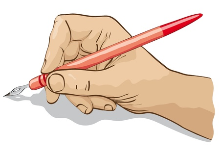signing: hand with nib, red
