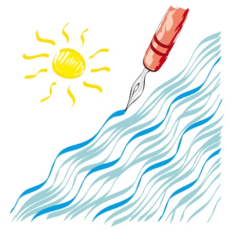 nib: nib waves and sun Illustration
