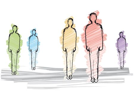 many colored: Men silhouette Illustration