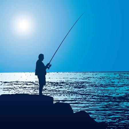 Pescador Ilustración de vector