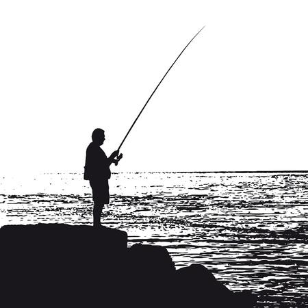 resting rod fishing: Fisherman