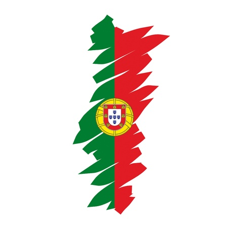 portugal flag: map flag Portugal