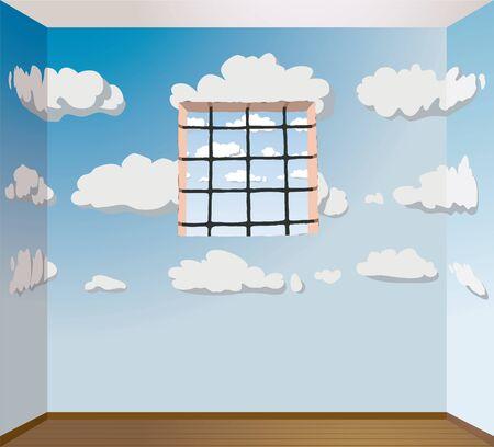 incarceration: habitaci�n pintada Vectores