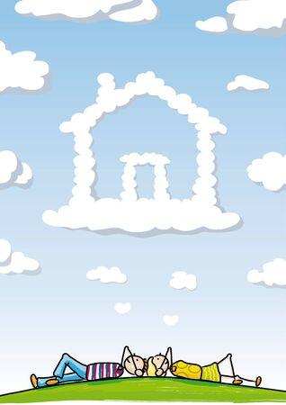 family outdoors: Dream Home Illustration