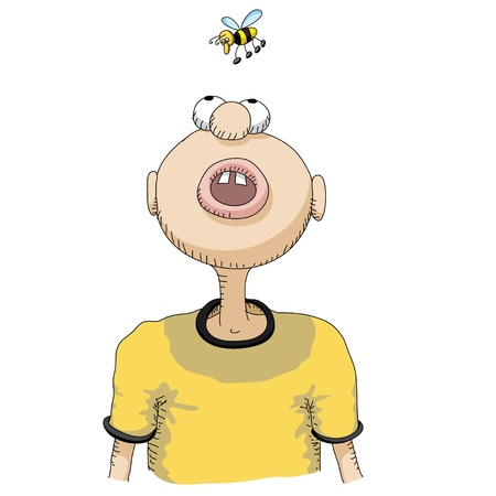 open mouth: character and  bee
