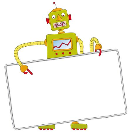 robot with sign Stock Vector - 10726175