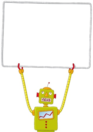 robot with sign Stock Vector - 10726111