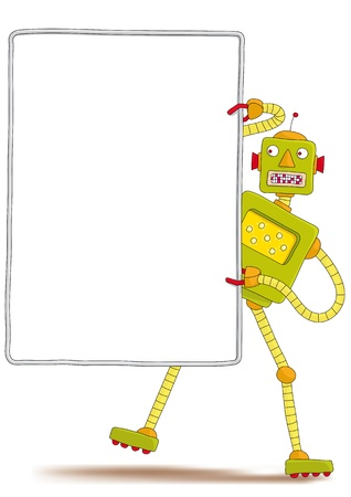 robot with sign Illustration