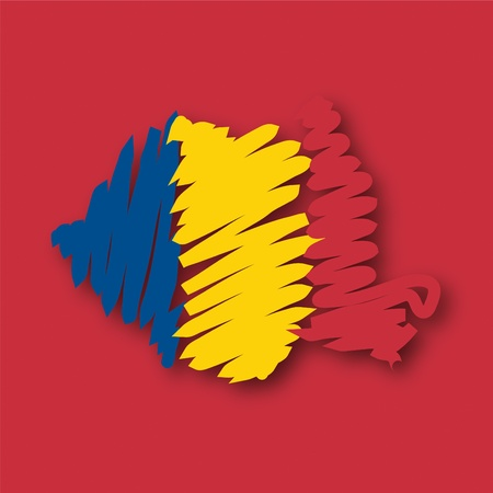 flag map Roemenië Vector Illustratie