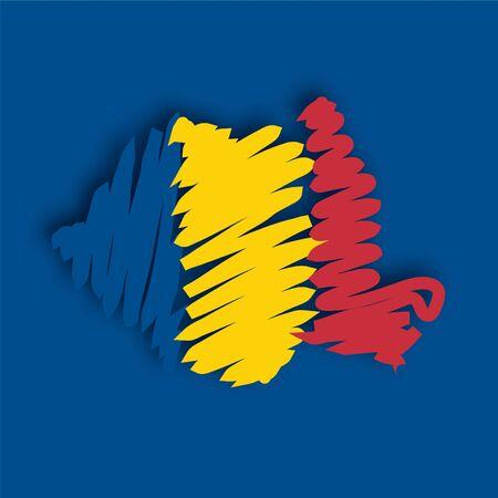 romania flag: flag map Romania