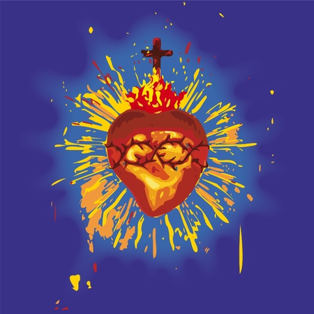 red love heart with flames: Sagrado Coraz�n