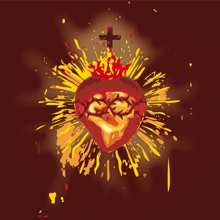 red love heart with flames: Sagrado coraz�n de Jes�s