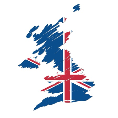 united kingdom: map flag of the UK Illustration