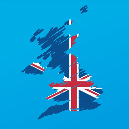 britain flag: map flag of the UK Illustration