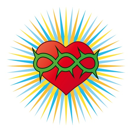 sacred heart: heart, a Christian symbol Illustration